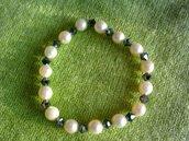 bracciale in vere perle e svarovski nere