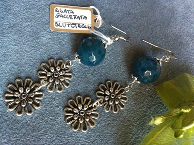 Orecchini artigianali fatti a mano agata blu sfaccettata - idea regalo
