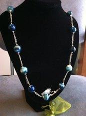 Collana artigianale fatta a mano agata blu striata - idea regalo