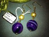 Orecchini artigianali fatti a mano agata viola striata - idea regalo