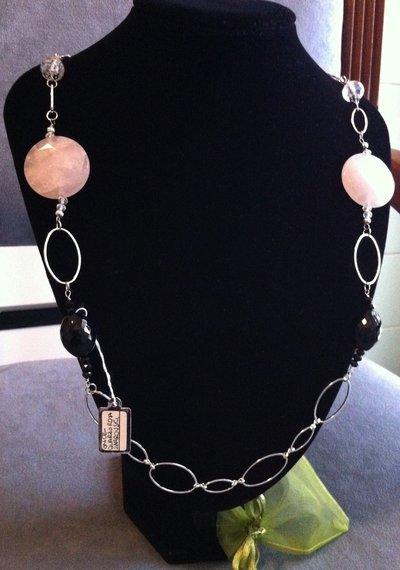Collana artigianale fatta a mano onice e quarzo rosa - idea regalo