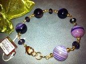 Bracciale artigianale fatto a mano agata viola striata - idea regalo