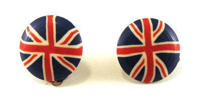 Orecchini fashion fatti a mano con bandiera inglese o americana e chiusura a clip