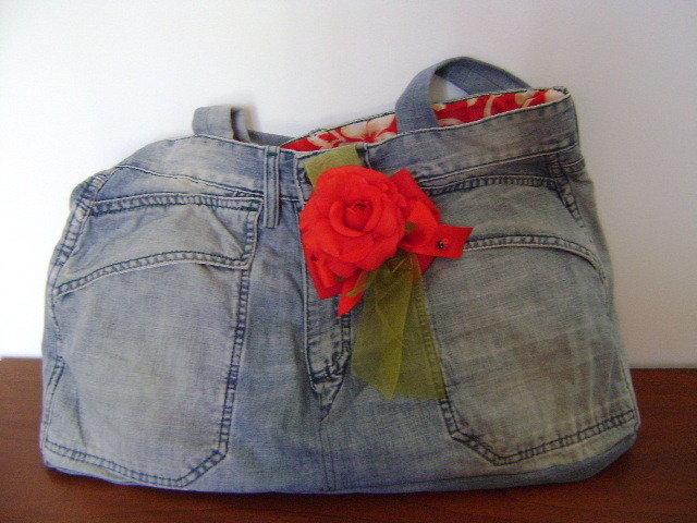 borsa in jeans rosa