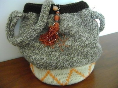 borsa in lana con fondo in similpelle