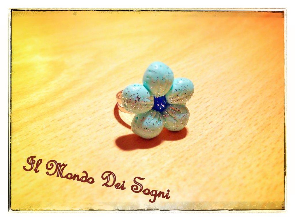 Anello fiore verde acqua FIMO +SCATOLINA REGALO!