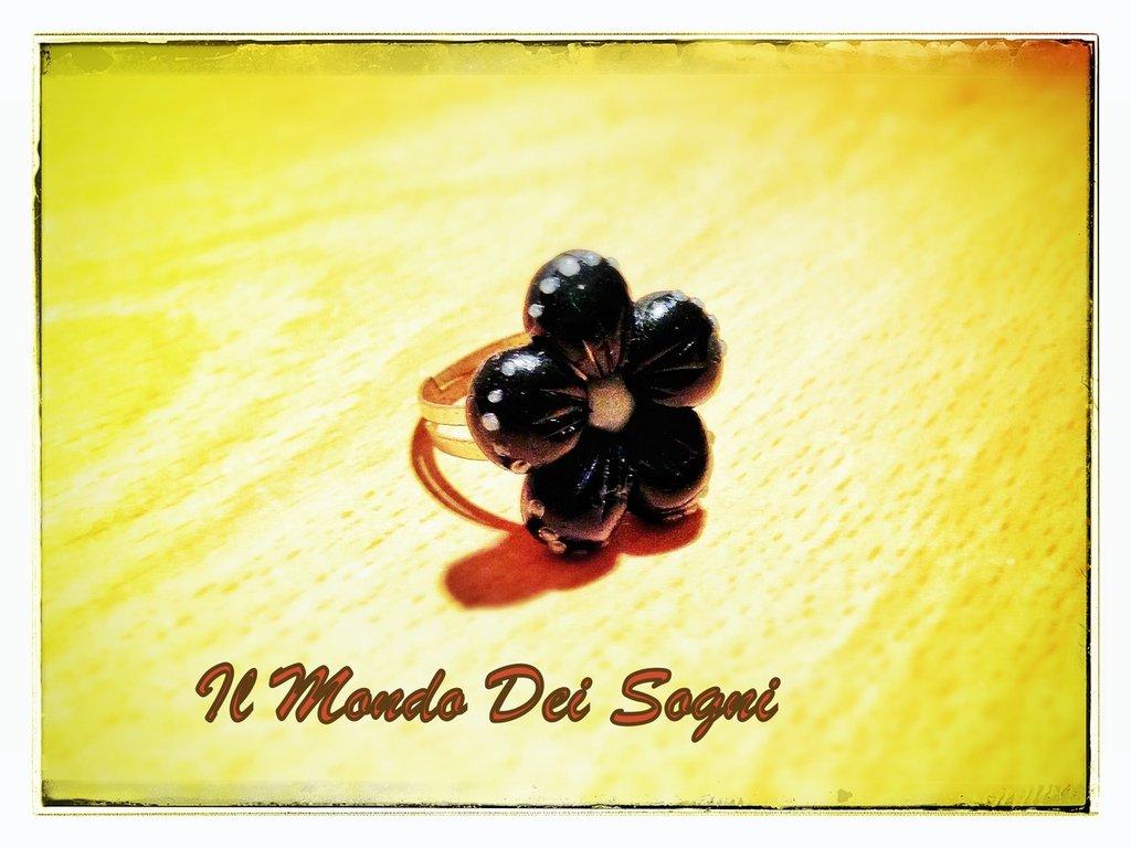 Anello fiore nero FIMO + SCATOLINA REGALO!