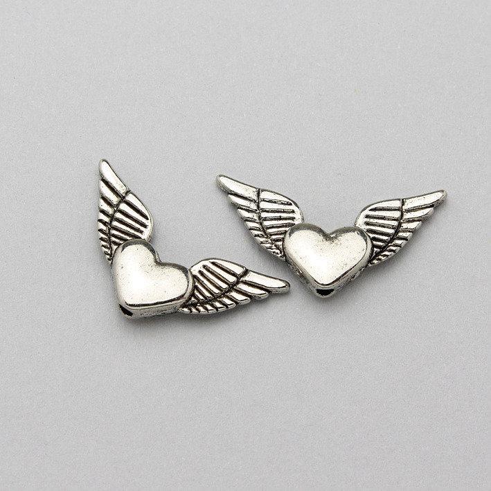 2 charm cuore con ali
