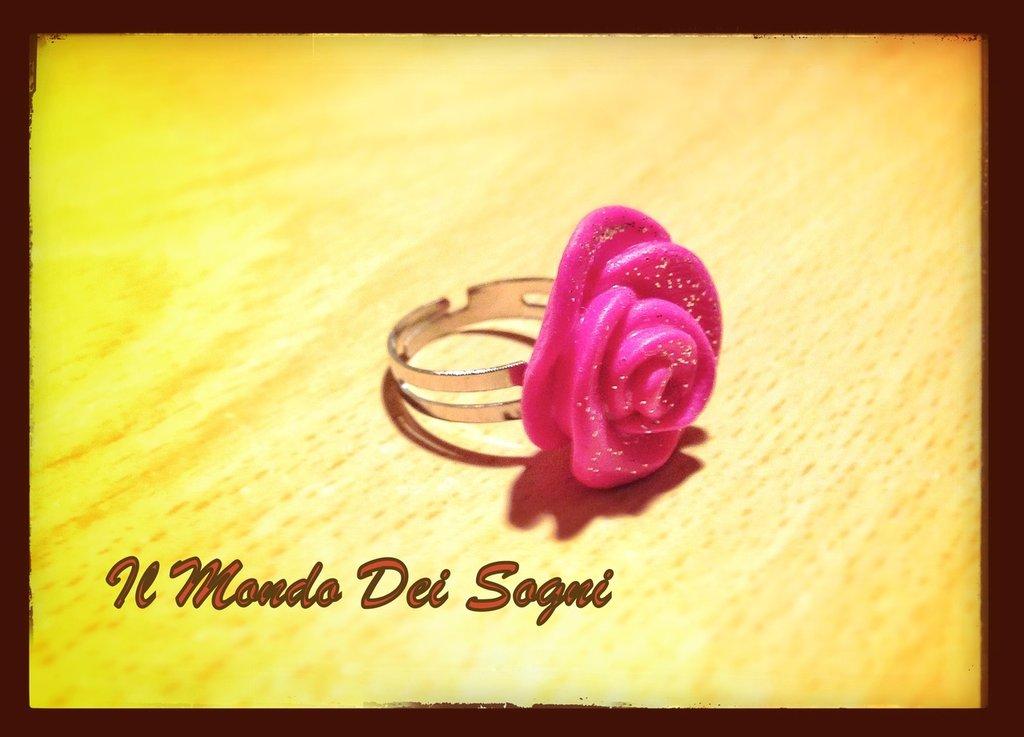 Anello rosa fucsia FIMO+SCATOLINA REGALO!