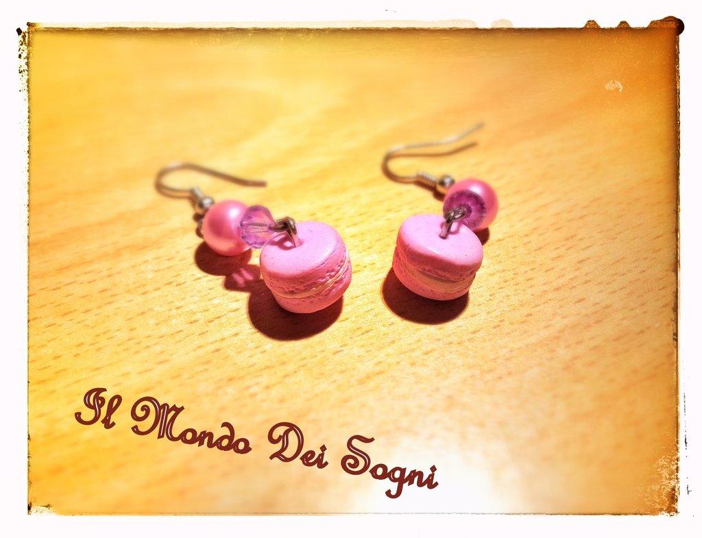 Orecchini fimo macarons rosa+SCATOLINA REGALO!!