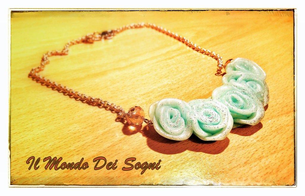 Collana fimo rose verde acqua girocollo+OMAGGIO!