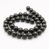 5 perle agata nera 10mm