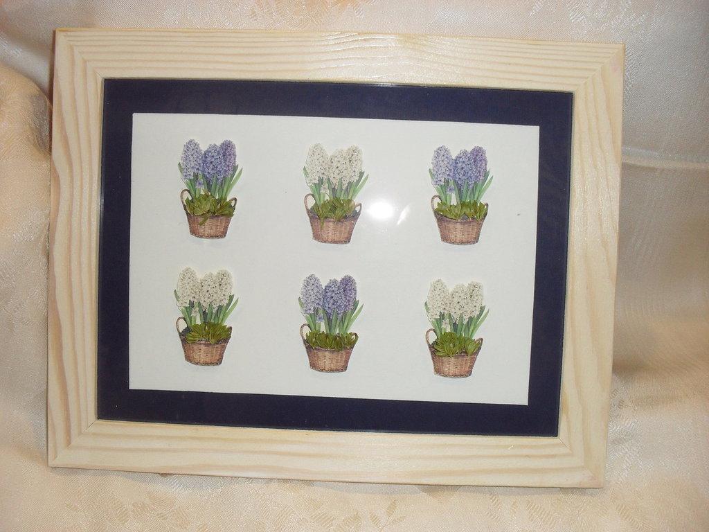 Quadro vasetti di fiori blù