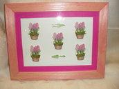 quadro-decorazione vasetti fiori fucsia
