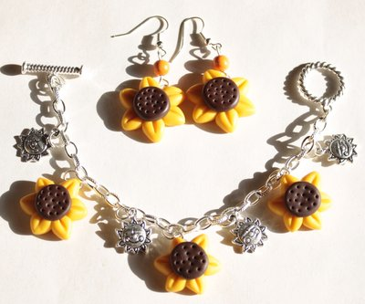 Parure Bracciale e Orecchini Girasole - Sunflower Earrings and Bracelet Set