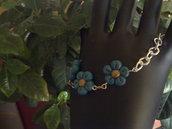 bracciale 3 fiori color petrolio
