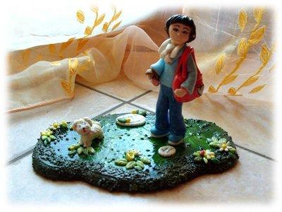 Statuina cake topper Mamma con cane