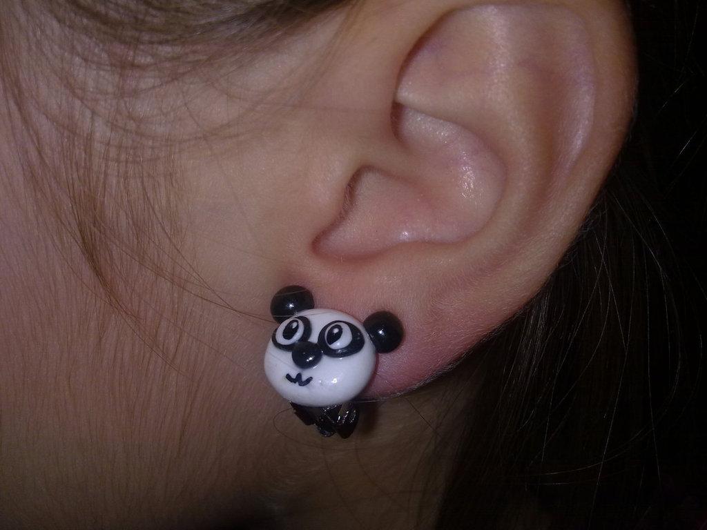orecchino mini panda a clip