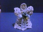 Angioletto segnaposto o bomboniera all'uncinetto fatto a mano colore azzurro