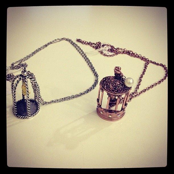 Collana in rame brunito e argento brunito con gabbietta e perle