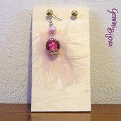 Orecchino singolo piuma rosa