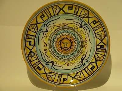 piatto ceramica tattoo sole