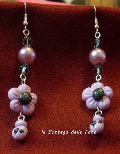 orecchini Fiore e coccinella