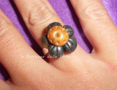anello con fiore 5 petali