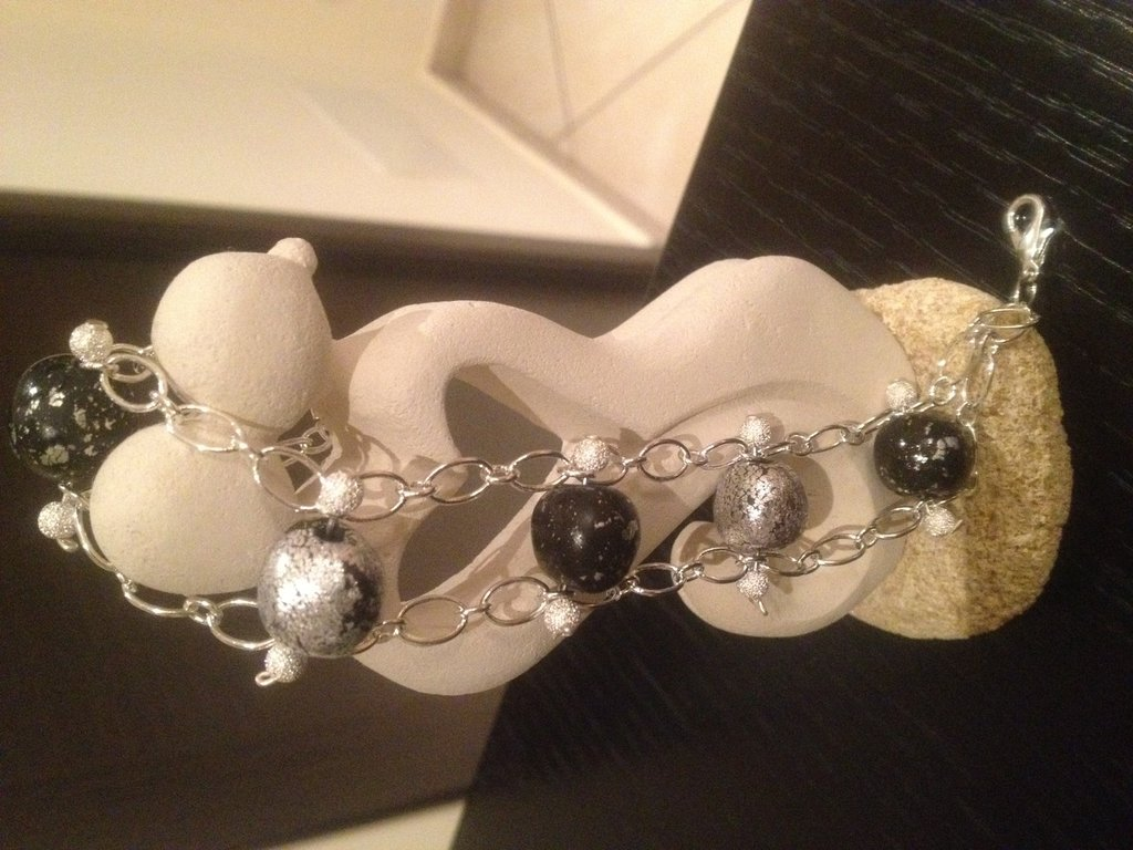 bracciale foglia d argento