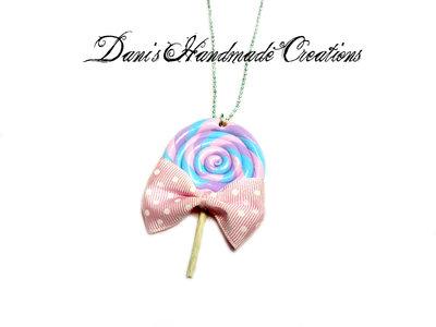 collana con lollipop in fimo e fiocchetto rosa a pois bianchi