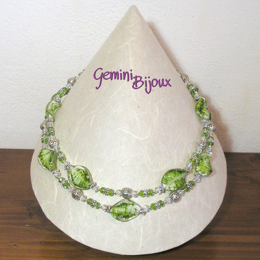 Collana due file verde argento