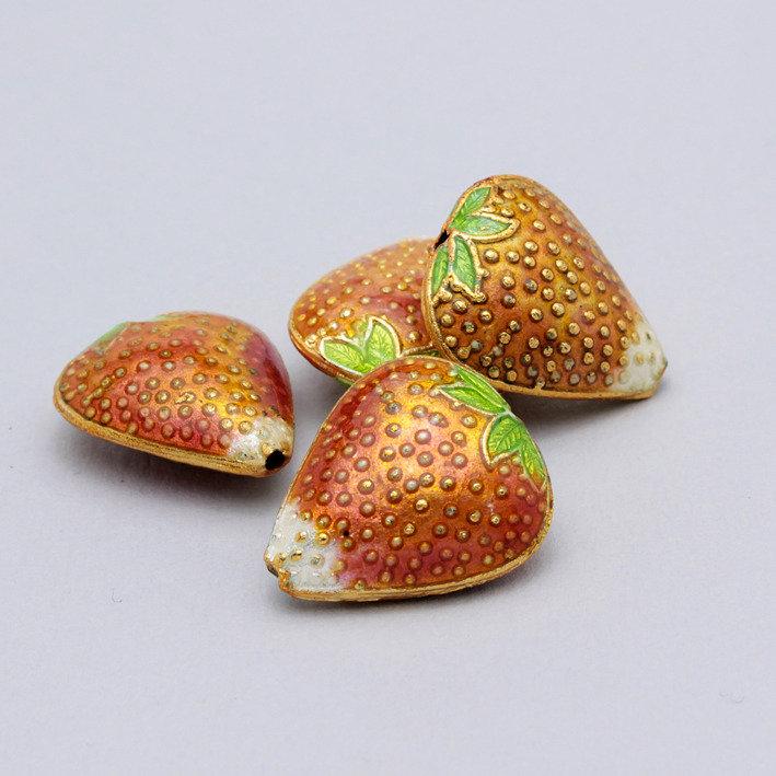 2 perle metallo smaltato - fragola