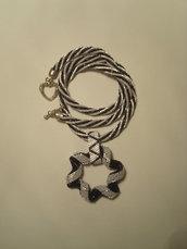 Collana spirale bianca e nera