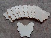 lotto 10 farfalle sagome legno