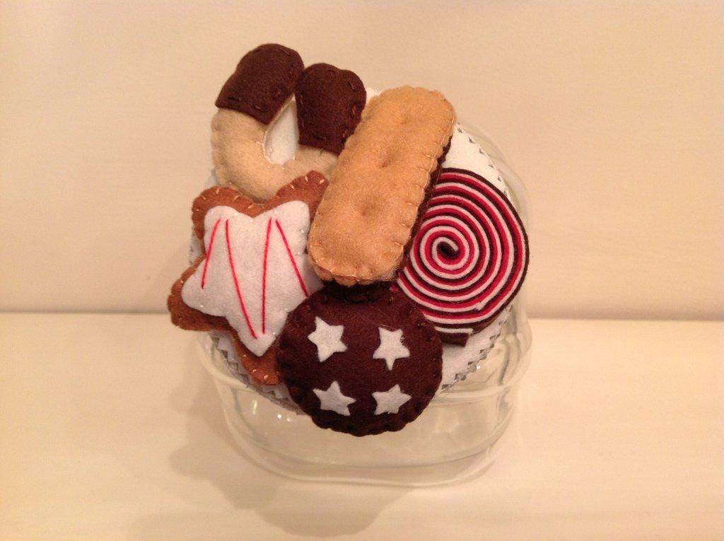 Vaso di vetro porta biscotti con coperchio decorato