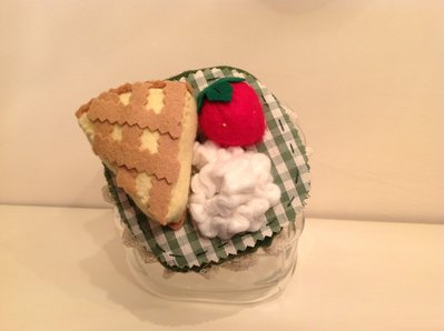 Vaso di vetro porta biscotti con tappo decorato