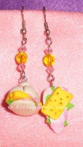 orecchini panini prosciutto e formaggio