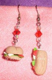 orecchini panini pomodoro e mozzarella