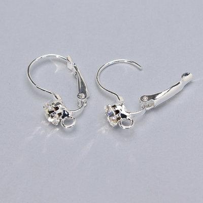 coppia base orecchini con strass - argento