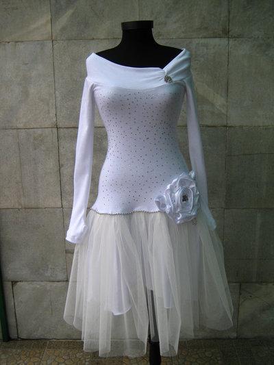Snow-abito bianco con maniche lunghe