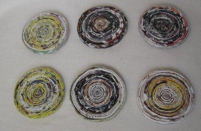 Set di  6 sottobicchieri ecologici in carta riciclata 7,5 cm