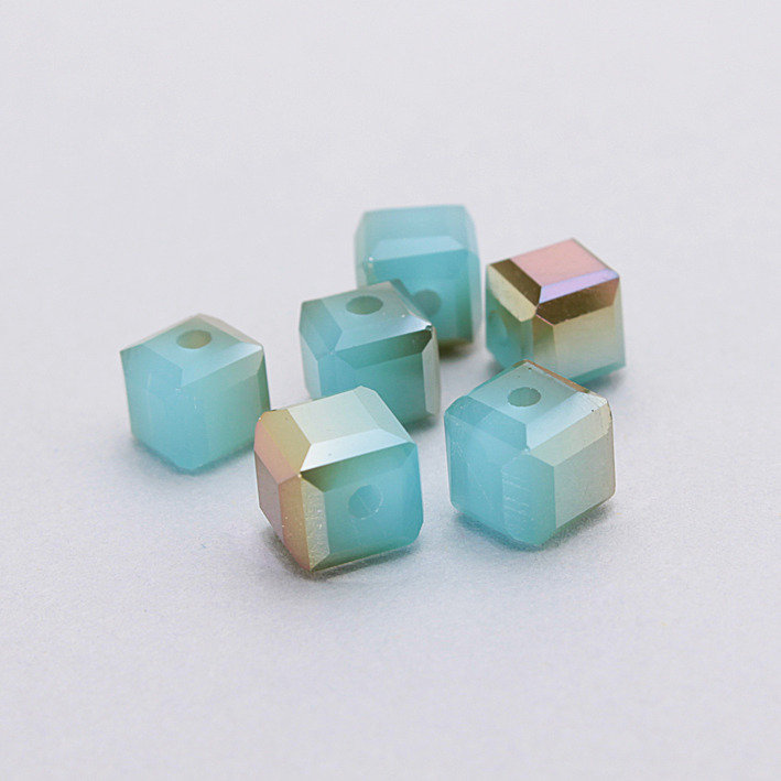 4 cristalli - cubo 6mm azzurri alabastro