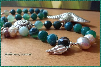 Collana di Giada e Perle Con Pendente  a Stella e Charms in Argento 925 fatta a mano