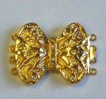 chiusura a 4 fili in metallo dorato e strass