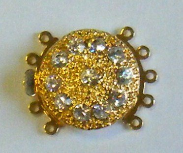 chiusura a 5  fili in metallo dorato e strass