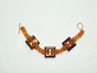 Bracciale con cristalli Swarovski sui toni dell'ambra - cod. D2