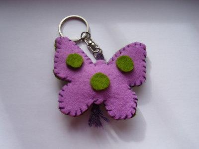Portachiavi Farfalla fatto a mano 7x8 cm