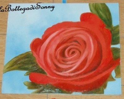 quadro floreale rosa rossa