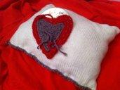 My Valentine-Cuscino di lana con cuore