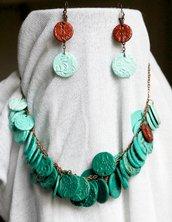 Parure Round Leaves orecchini e collana in fimo verde turchese rame